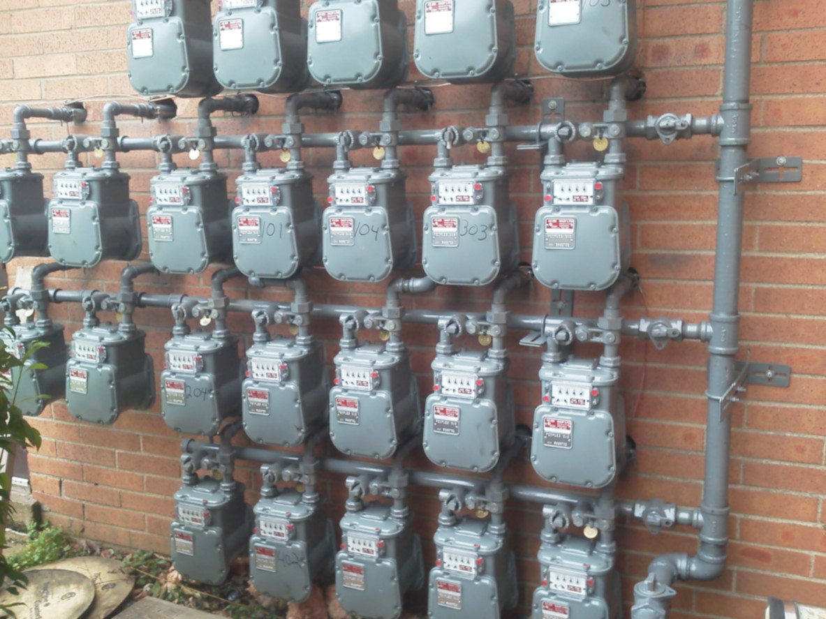 gas line plumbing Pittsburgh commercial building with 22 gas meters